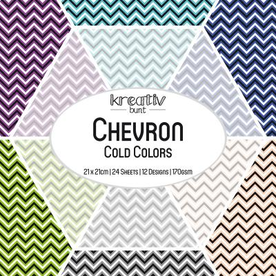 Paper Basics Motivpapier: Chevron - Cold Colors