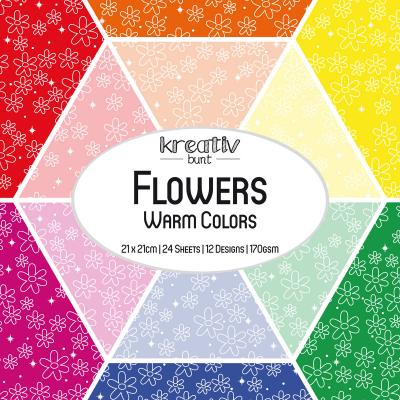Paper Basics Motivpapier: Flowers - Warm Colors