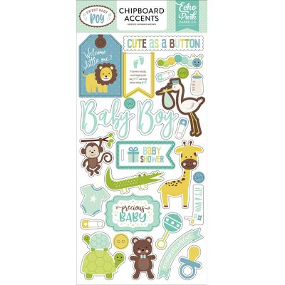 Echo Park Sweet Baby Boy Chipboard Embellishments 6 x 13 Inch