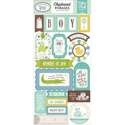 Echo Park Sweet Baby Boy Chipboard Phrases 6 x 13 Inch