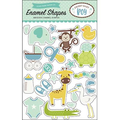 Echo Park Sweet Baby Boy Enamel Shapes Embellishments