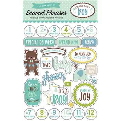 Echo Park Sweet Baby Boy Enamel Phrases Embellishments