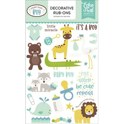 Echo Park Sweet Baby Boy Dekorative Rub-Ons Embellishments