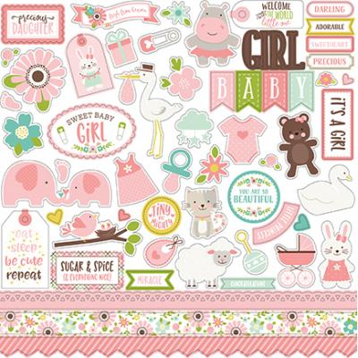 Echo Park Sweet Baby Girl Stickerbogen 12 x 12 Inch