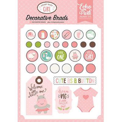 Echo Park Sweet Baby Girl Decorative Brads Embellishments