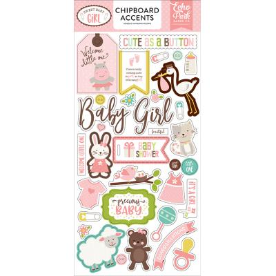 Echo Park Sweet Baby Girl Chipboard Embellishments 6 x 13 Inch