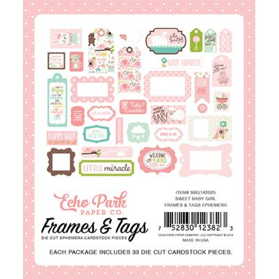 Echo Park Sweet Baby Girl Die-Cuts Frames & Tags Ephemera Pack