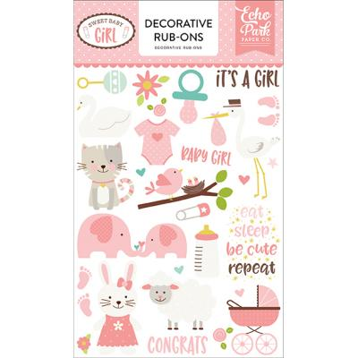 Echo Park Sweet Baby Girl Dekorative Rub-Ons Embellishments