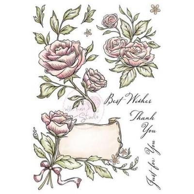Wild Rose Studio`s A5 Stamp Set Antique Roses Clear Stamp