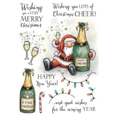 Wild Rose Studio`s A5 Stamp Set Boozy Santa Clear Stamp