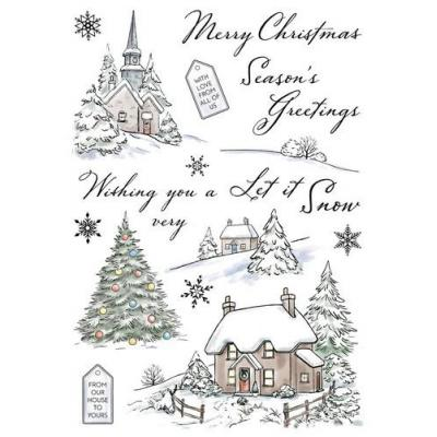 Wild Rose Studio`s A5 Stamp Set Winter Cottages