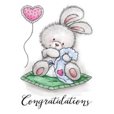 Wild Rose Studio`s A7 Stamp Set Baby Bunny Clear Stamp