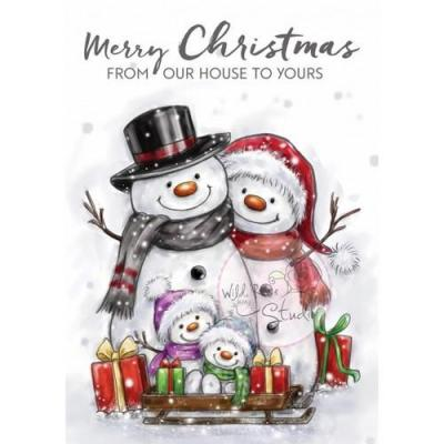 Wild Rose Studio`s A7 Stamp Set Snowman Family